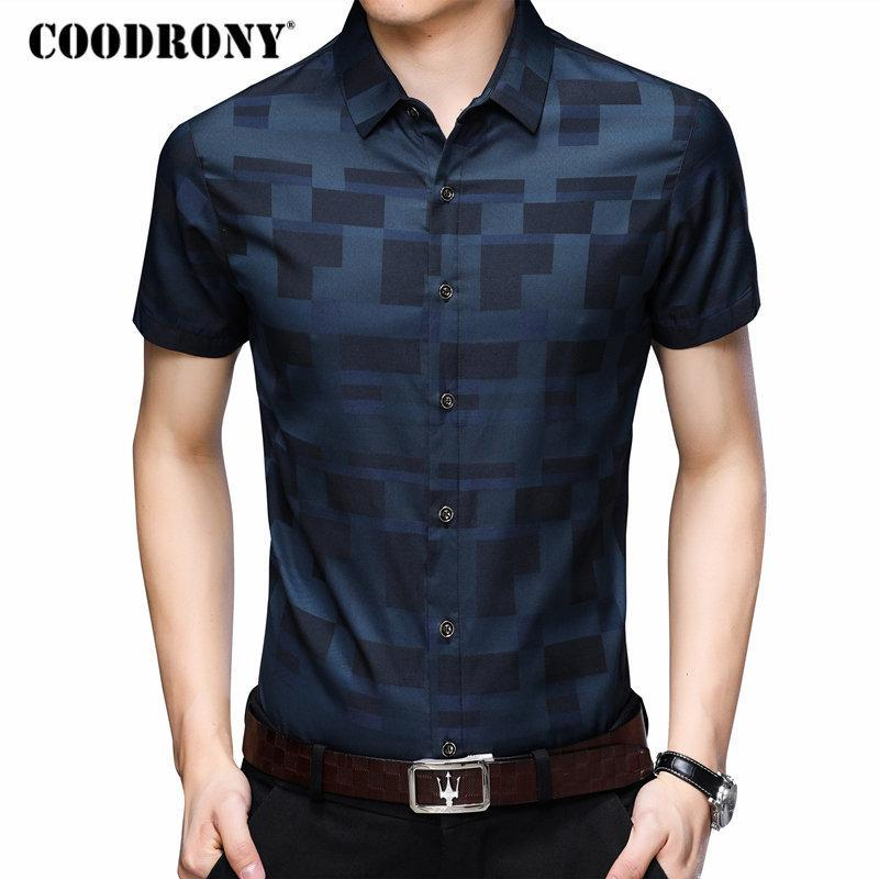 Coodrony Short Sleeve Shirt Men Clothes 2019 Summer Mens Shirts Casual Slim Fit Plaid Camisa Masculina Cotton Chemise Homme 8701 MX190719
