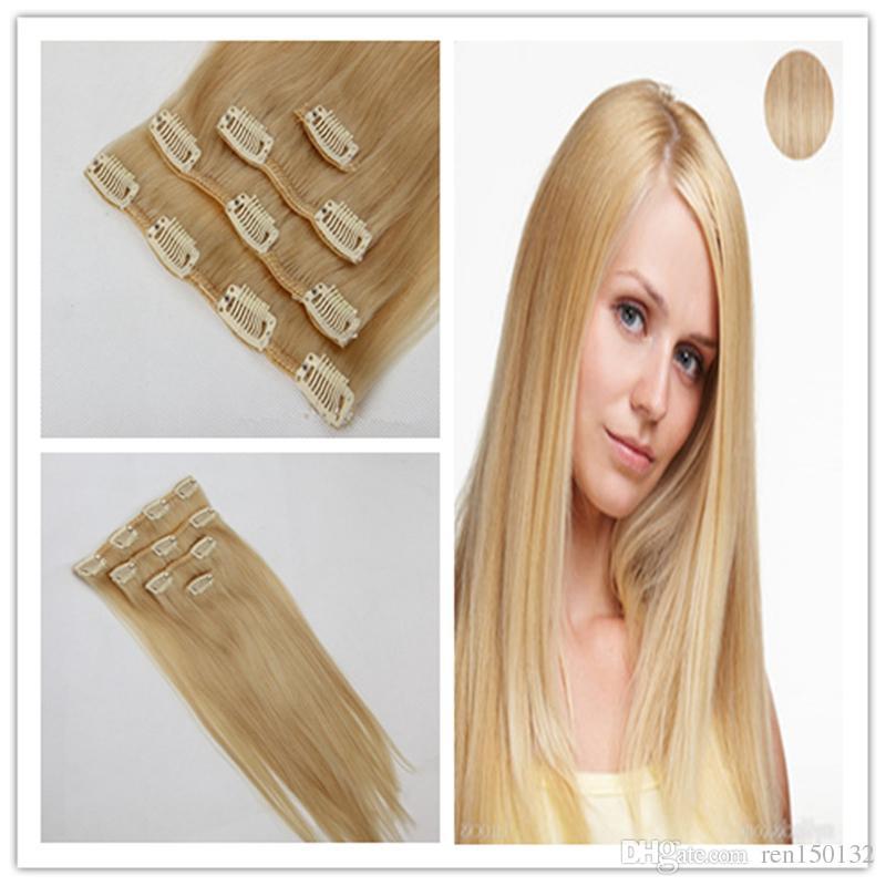 Clip en Extensiones de Cabello Humano 8pcs / set clip grueso virginal en la extensión del pelo 100g de la armadura recta Remy del pelo