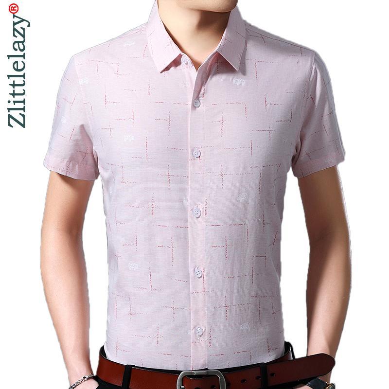 2020 yeni kısa kollu erkek sosyal gömlek yaz streetwear rahat çizgili Gömlek Elbise erkek slim düzenli fit giyim modası 4150