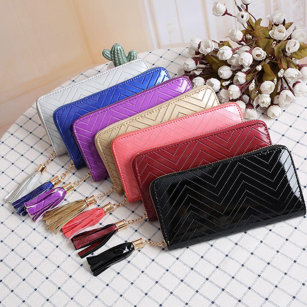 Fashion Women Ladies Tassel Long Clutch PU Leather Zipper Wallet Purse Card Holder Pocket Coins Purse Organizer Wallets Girls Gifts