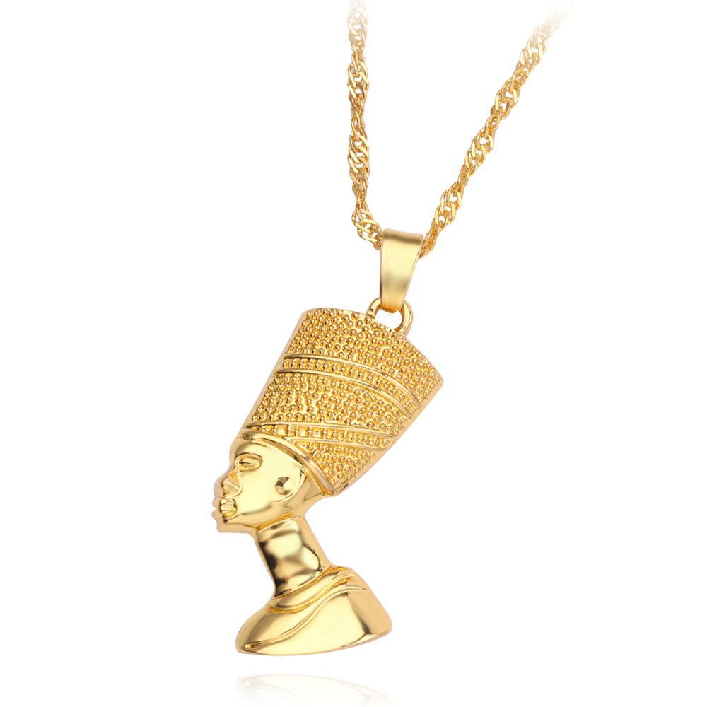 이집트 여왕 Nefertiti 여성을위한 펜던트 목걸이 남성 쥬얼리 골드 컬러 도매 10pcs / lot