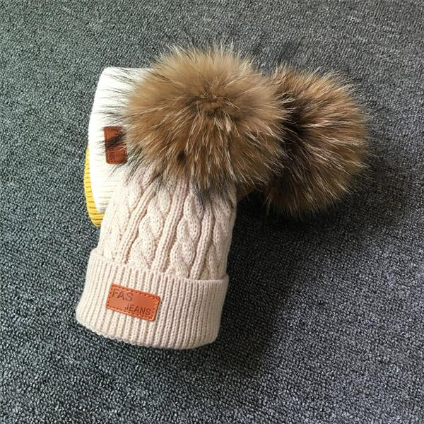 2019 arrival cute kid babies Beanies caps Child Crochet Winter Warm Knit Hats Cap Baby Boy Girls beading Hair Ball Hat