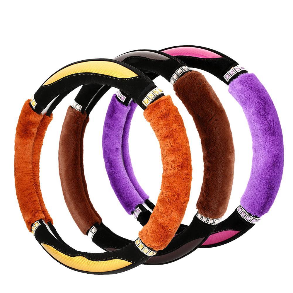 Модные горный хрусталь шипованных Рулевая Candy Цвет автомобиля крышки колеса для женщин