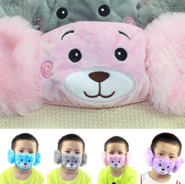 Popular 2 en 1 oído máscaras de protección cara del oso de felpa los niños del bordado de la boca Máscara regalos Máscaras anti del polvo de cara Fit Kids Party