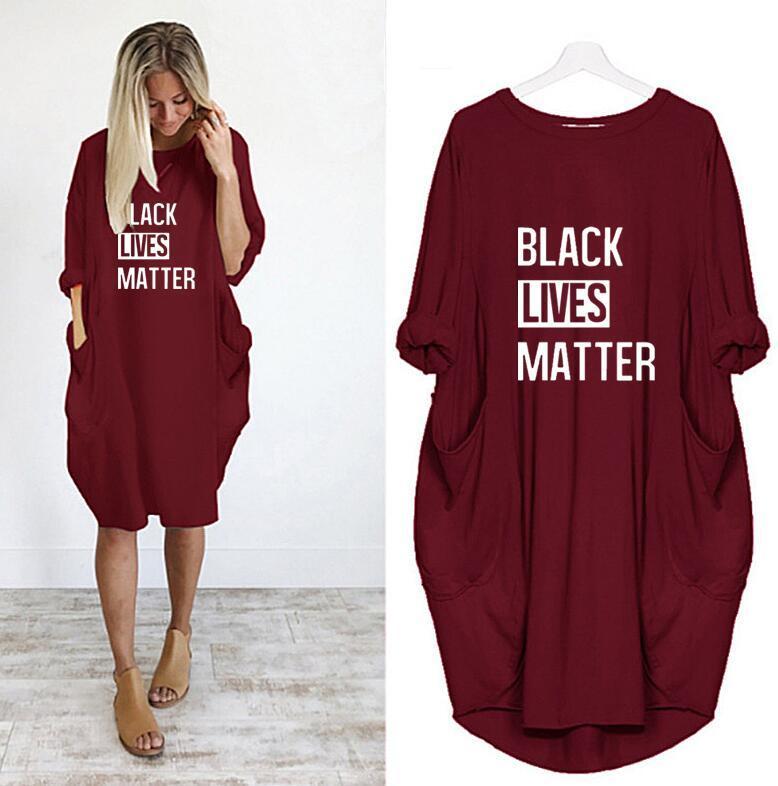 Black Lives Materia T-shirt da donna Abiti con lettere Fashion Nuovo Arrivo Vestito estivo per le donne Abito lungo manica corta S-5XL