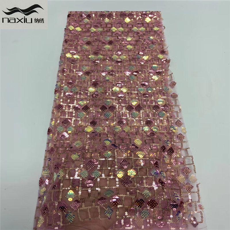 Französisch Nigerian Spitze-Gewebe African Mesh-Sequence-Spitze-Gewebe 2020-Qualitäts-Spitze-Material für Wedding Dress