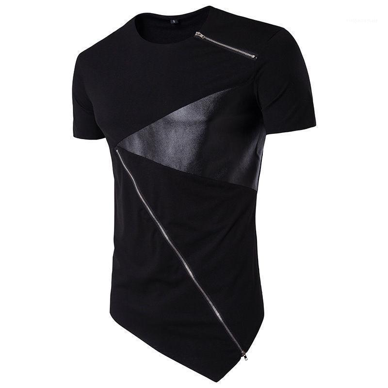 Tasarımcı Erkek Tişörtleri Şık Kontrast Dikiş Bahar Yaz Casual Tees O Boyun Kısa Kollu Moda Tops Deri Panelli