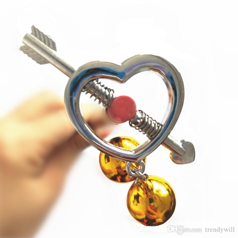 Campanelli a forma di cuore con campanelli regolabili in argento regolabili Clip per capezzoli Giocattolo Deluxe per anelli per capezzoli