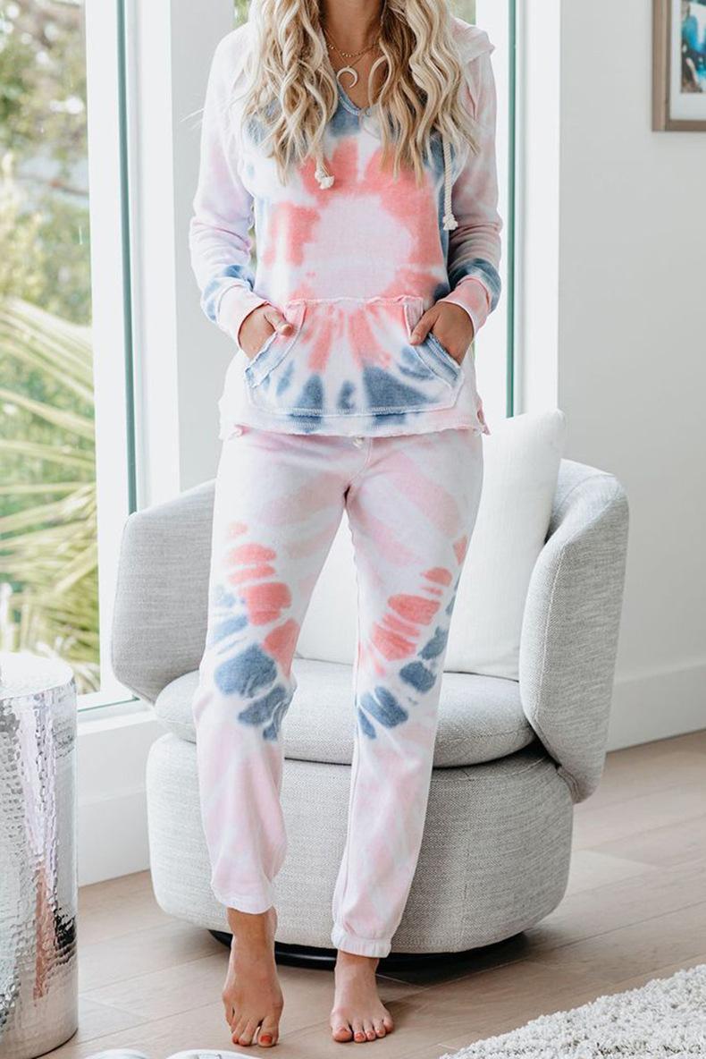 Top Quality For Pajamas Tiedye For Mujer Pigiama Da Donna Per Girocollo Tye Dye Short Purple Light Blue And White Tie Dye newclipper WSduJ