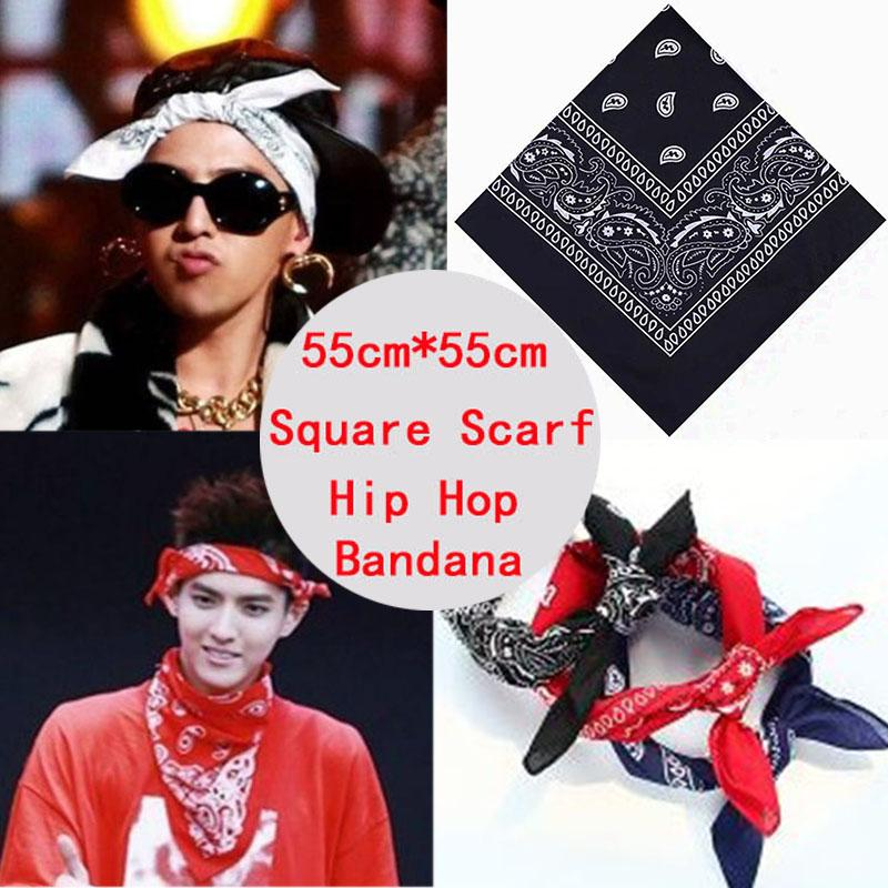 Top Cotton Hip Hop Bandana Headband Men Women Mask Femme Scarf Black Red Paisley Hair Tie Printed Facemask Head Bands Headwear