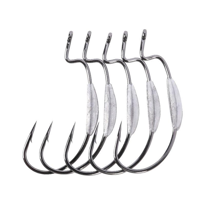 100 stücke Blei Angelhaken Jig Haken Offset Haken Wurm Weiche Köder Fishhook Größe 2 # 1 # 1/0 # 2/0 # 3/0 # 4/0 # Angelgerät