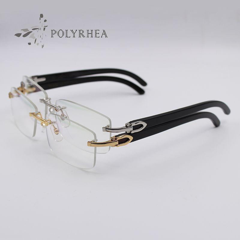 أسود بافالو القرن نظارات بدون إطار الذهب النظارات الشمسية الضوئية الرجال النساء العلامة التجارية مصمم النظارات نحت نظارات إطارات مع صندوق وحالات