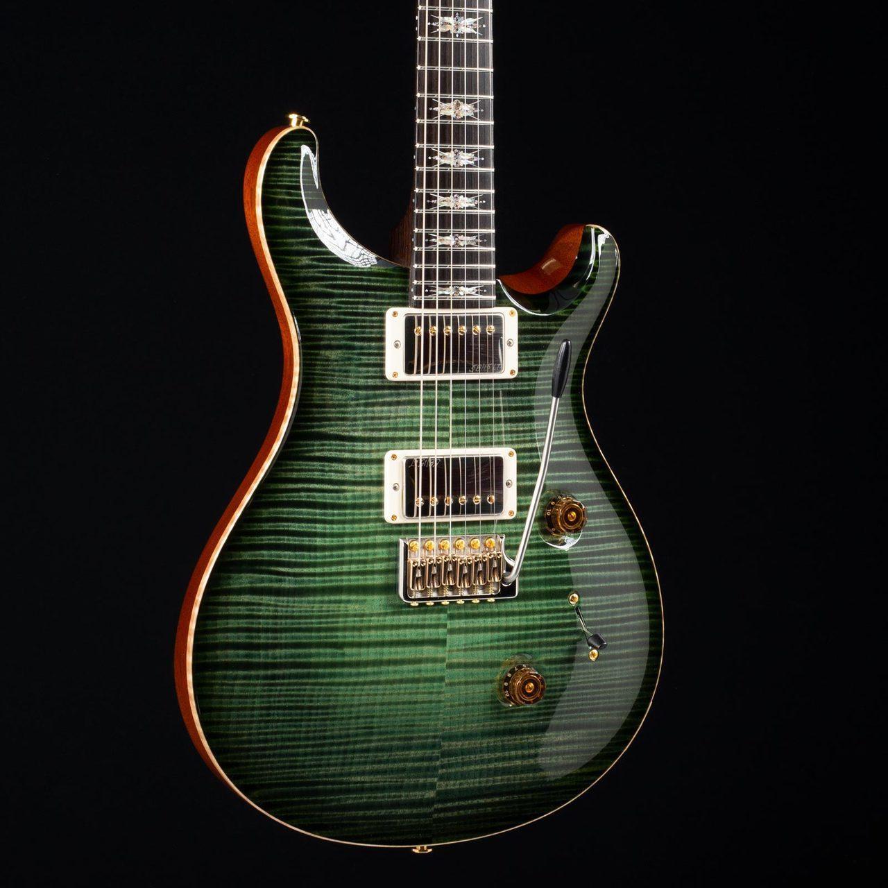 2016 Custom 24 Lotus Knot Private Stock Sage Glow Smoke Burst 3415 Flamme verte en érable Guitare électrique Lotus Knot inlays, trémolo Pont