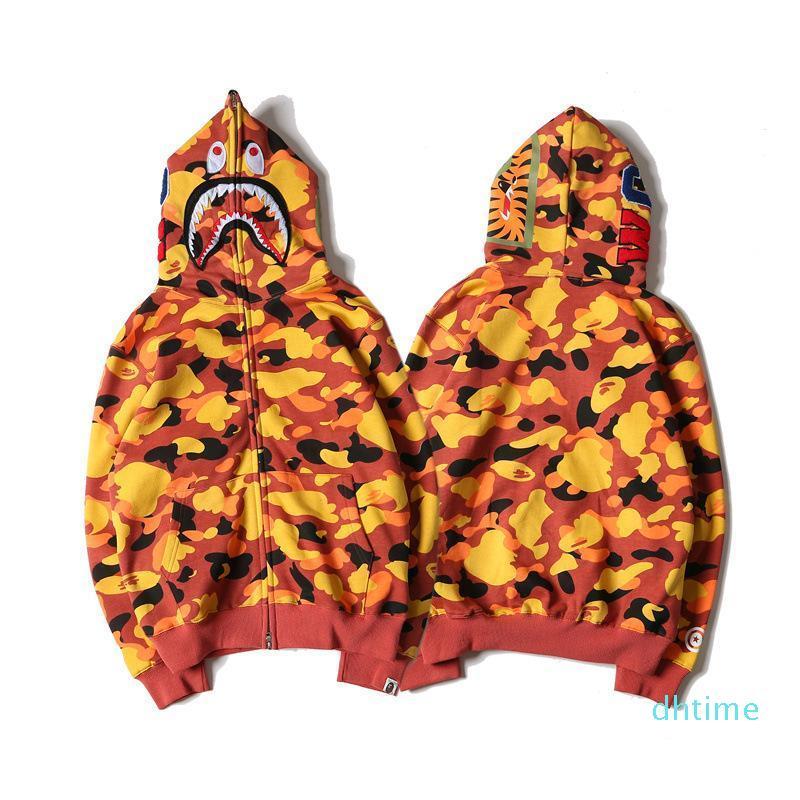 Moda tiburón sudaderas con capucha de Hip Hop cabeza masculina del otoño y del invierno de la personalidad para hombre de la moda marea hombres de la marca S camuflaje del amarillo anaranjado del suéter encapuchado