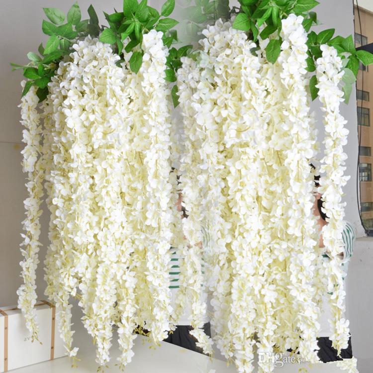 super lungo elegante fiore di seta artificiale glicine Vite rattan per centrotavola decorazioni di nozze Bouquet Garland Home Ornament