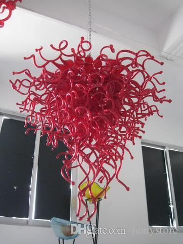 Art Handmade Blown vidro Murano lustre luz LED Red Light Source AC 110V 240V Modern candelabro de cristal para Home Decor