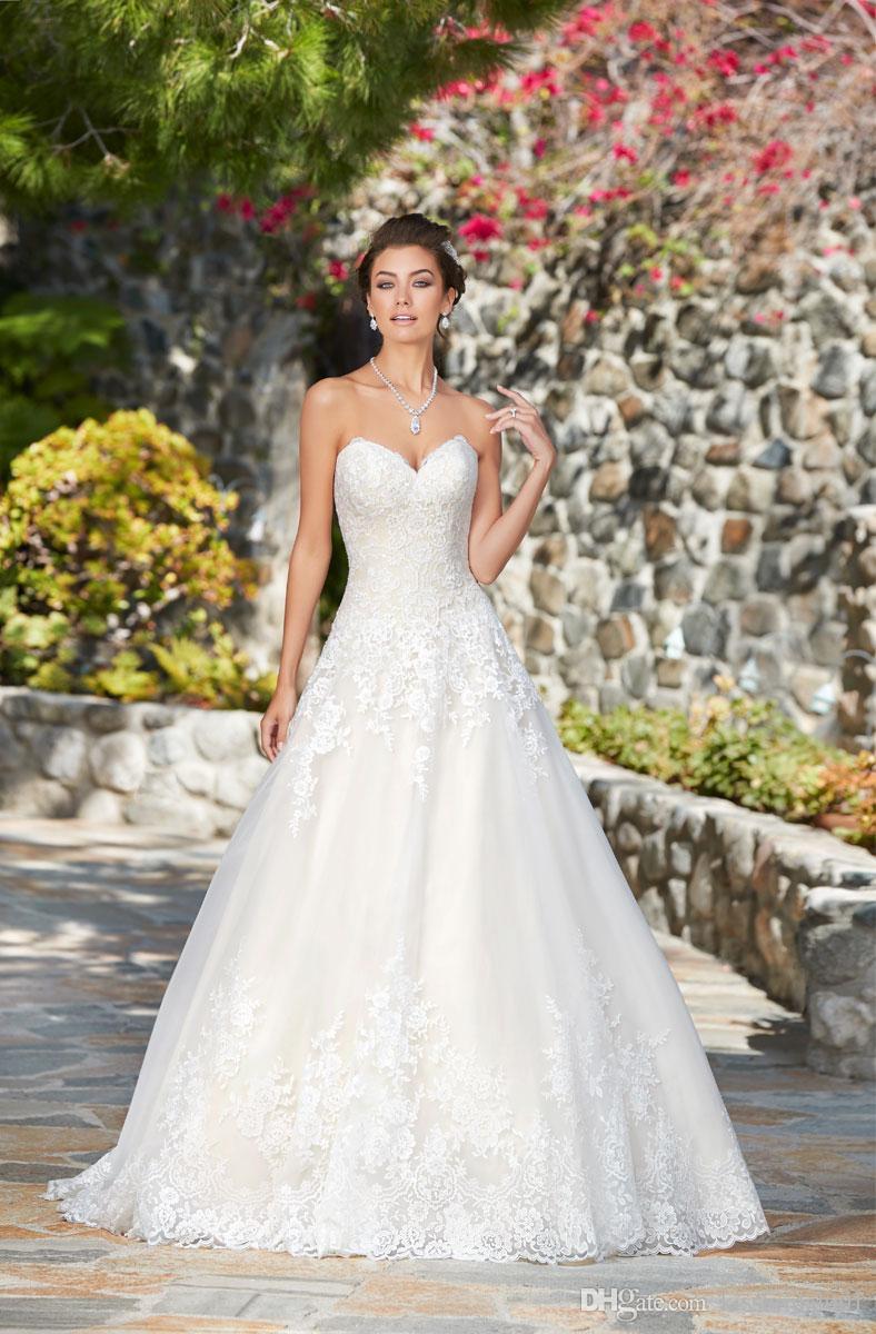 71d5c83070c93 2019 Latest Wedding Dresses A Line Sweetheart Neckline Lace Applique Tulle Bridal  Gowns Women Formal Dress