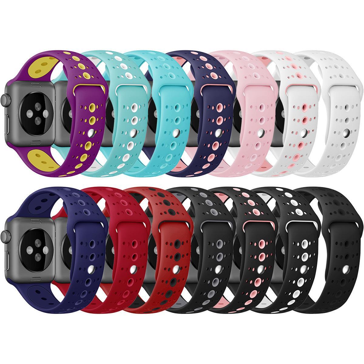 Appliquer à Apple Watch1 / 2/3/4 Bracelet de montre en gel de silice Poignet poreux en gel de silice bicolore