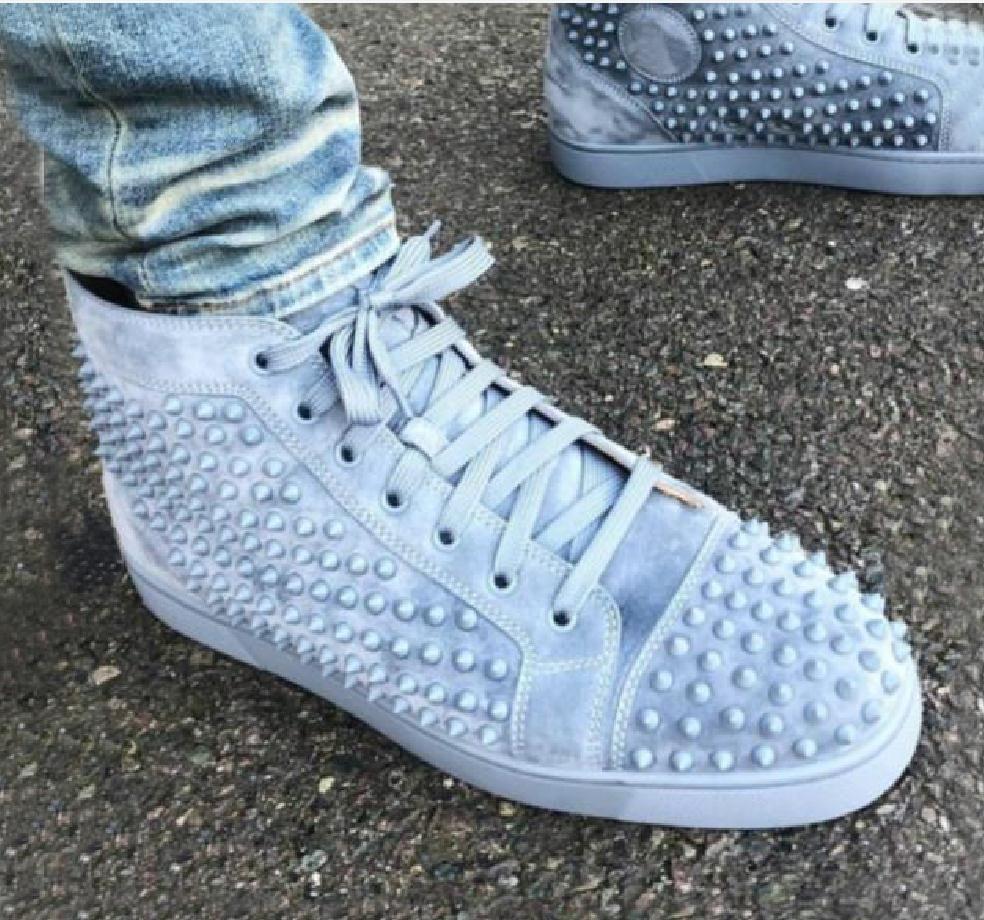 Box + sac à poussière, Italie Marques Rouge Bas Pointu Chaussures de sport Sky Blue Suede cuir Spikes chaussures Baskets Top Skateboard Goujons Formateurs
