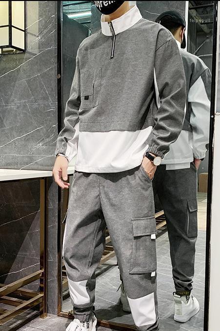 Fashion Zipper Neck Panelled Long Pants Mens 2PCS Sets Casual Sports Males Clothing Panelled Mens Designer Tracksuits