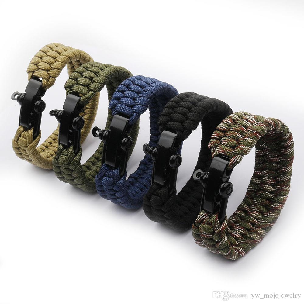 Fashion Design Online Hot Sale Mens 5 Color High Quality Handmade Outdoor Survival Paracord Bracelet 3 pcs/set
