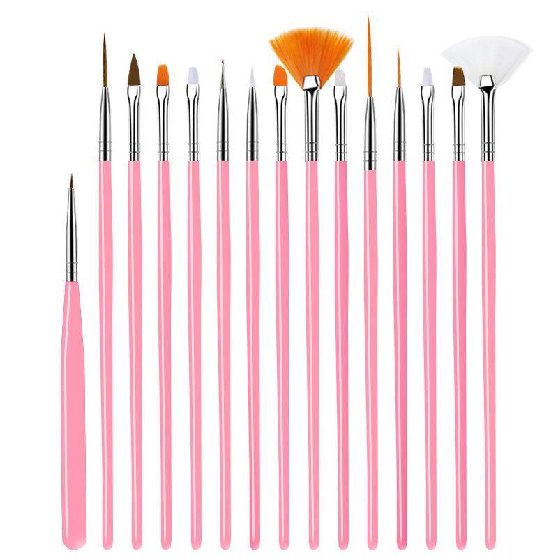 Cepillo de las uñas para la manicura del clavo del gel del arte 15Pcs / Set Ombre Cepillo Para gradiente para Gel Esmalte de uñas Pintura Dibujo