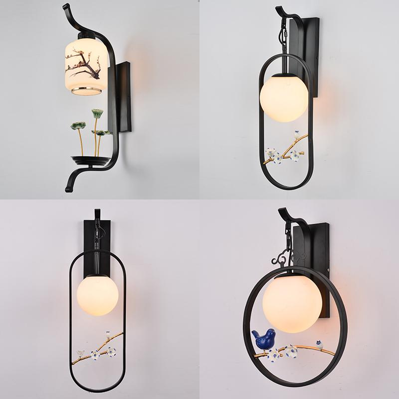 New Chinese wall lamp bedroom bedside lamp led retro creative modern minimalist living room TV background wall glass