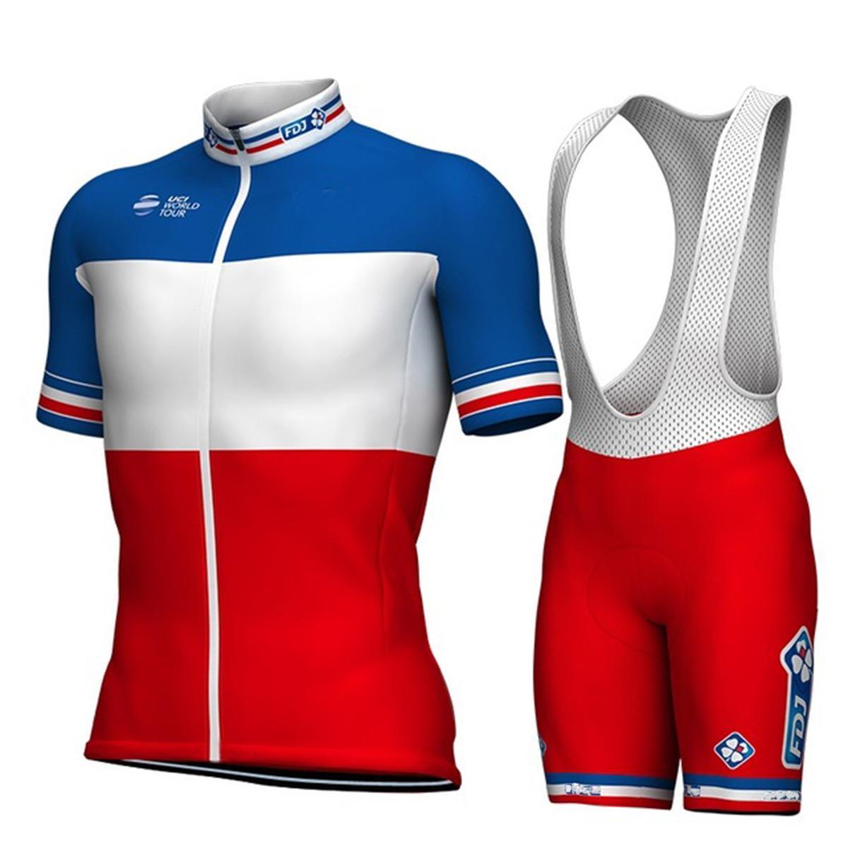 2018 Groupama Fdj Pro Team 프랑스 반소매 사이클링 저지 여름 자전거 타기 Ropa Ciclismo + Bib 반바지 3D 젤 패드 세트 크기 : XS -4xl