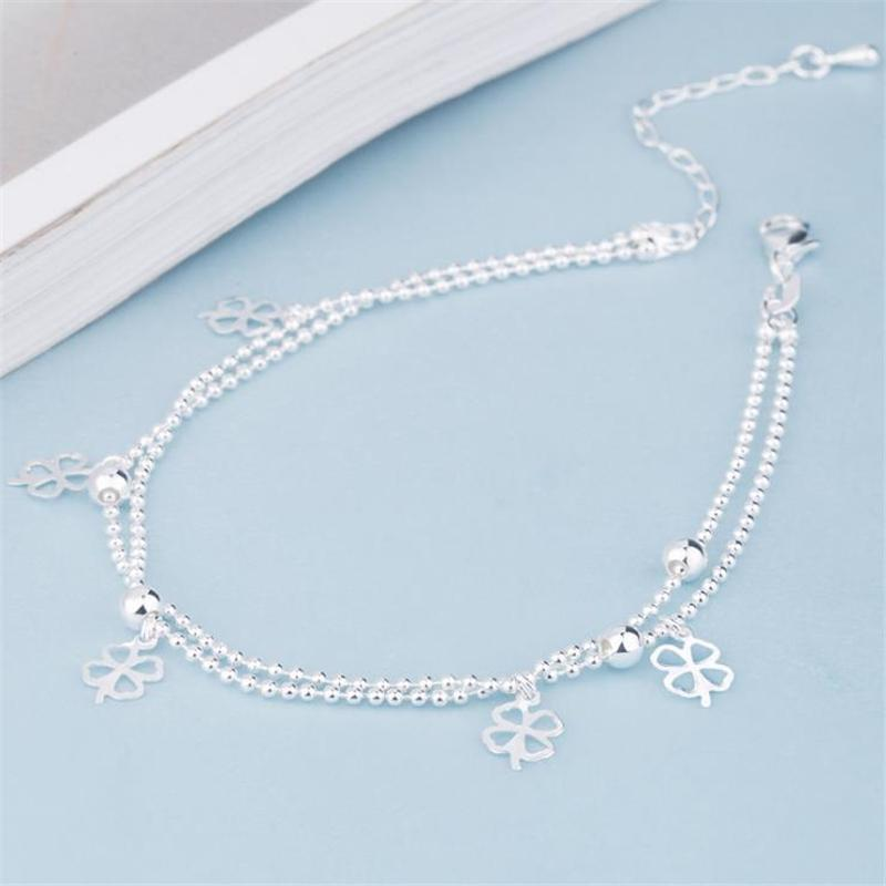 KOFSAC Summer New 925 Sterling Silver Beads Chain Anklets Beach Party Lucky Grass Ankle Bracelets For Women Foot Jewelry Gifts