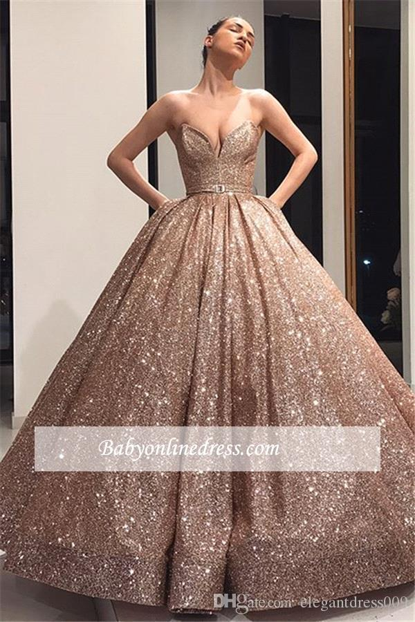 2019 New Rose Gold Sequined Elegant Ball Gown Quinceanera Dresses Sweet 16 Sweetheart Pleats Prom Dresses Evening Gowns Vestidos 15 Anos Best Dresses