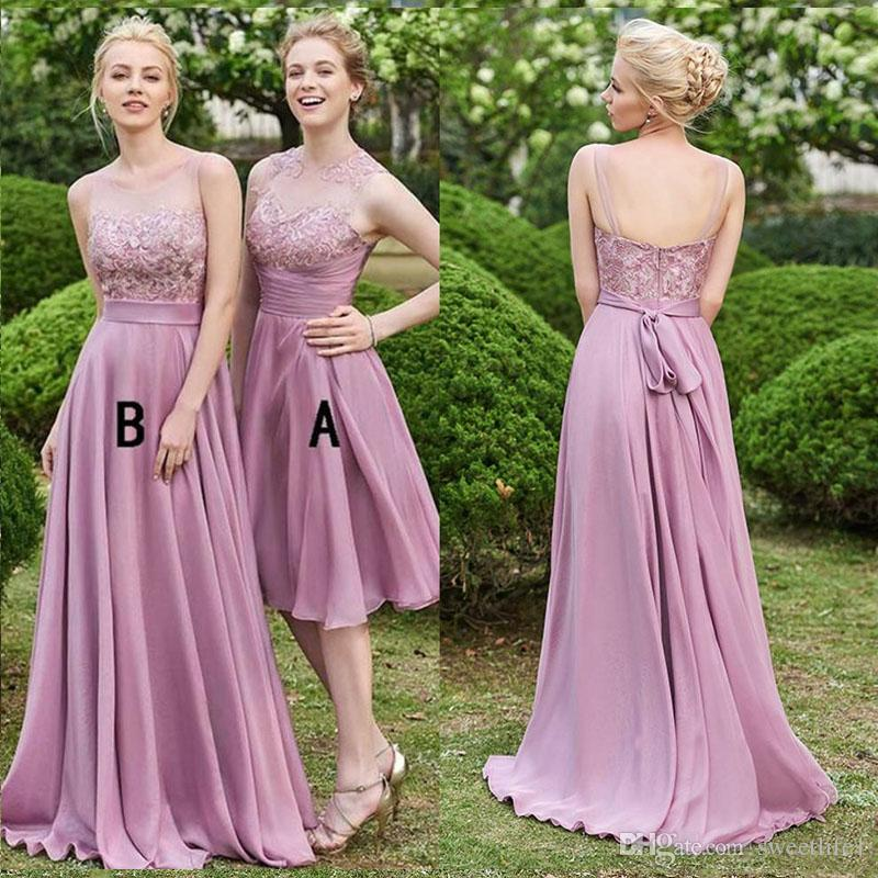 2020 Sheer Neck A Line Bridesmaid Dresses Chiffon Sexy Evening Dress Maid of Honor Wedding Guest Party Wear