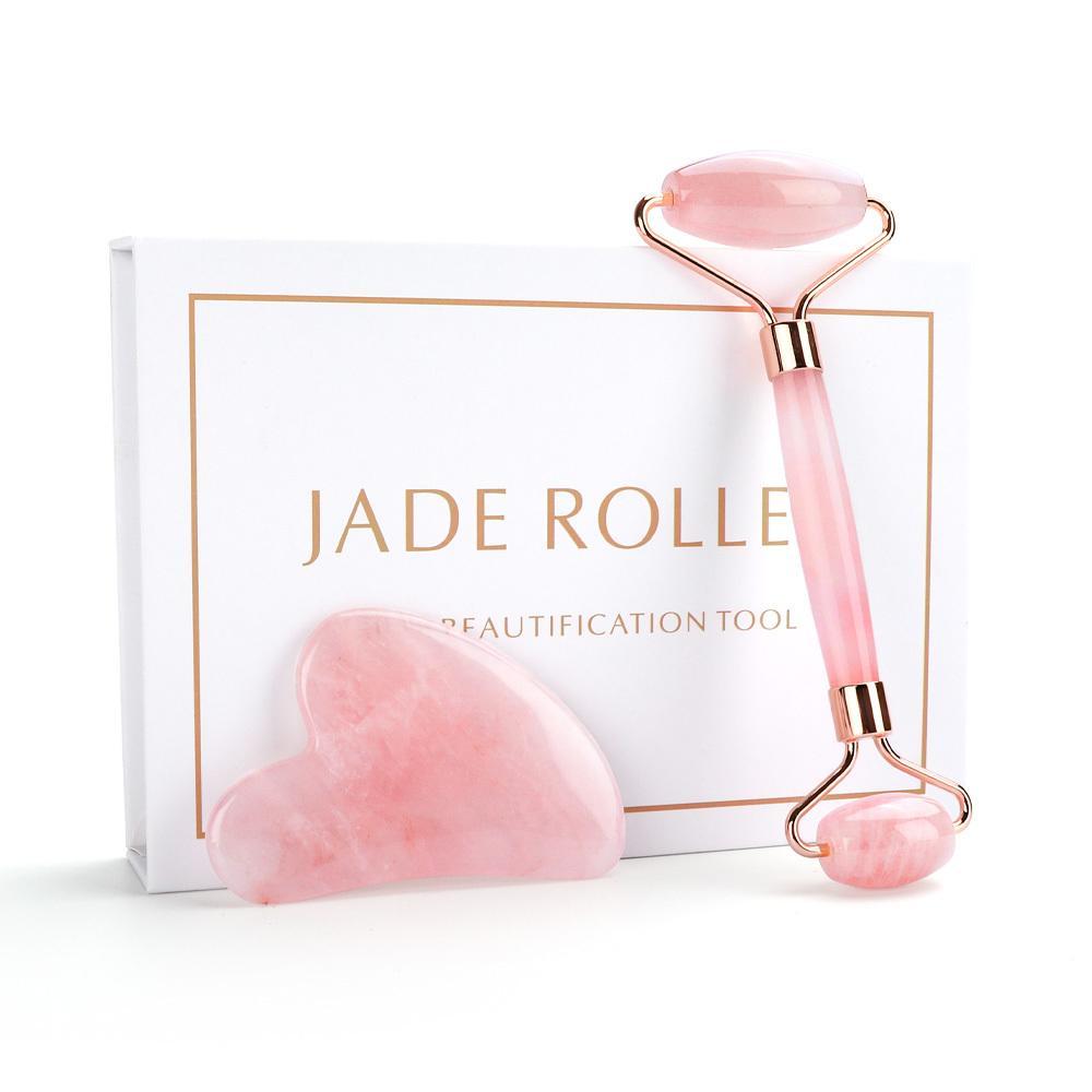Natural Rose Quartz Roller Facial Eye Body Massager Roller Jade Stone Guasha Face Lifting Massage Tool Skin Beauty Care gift box CY200521