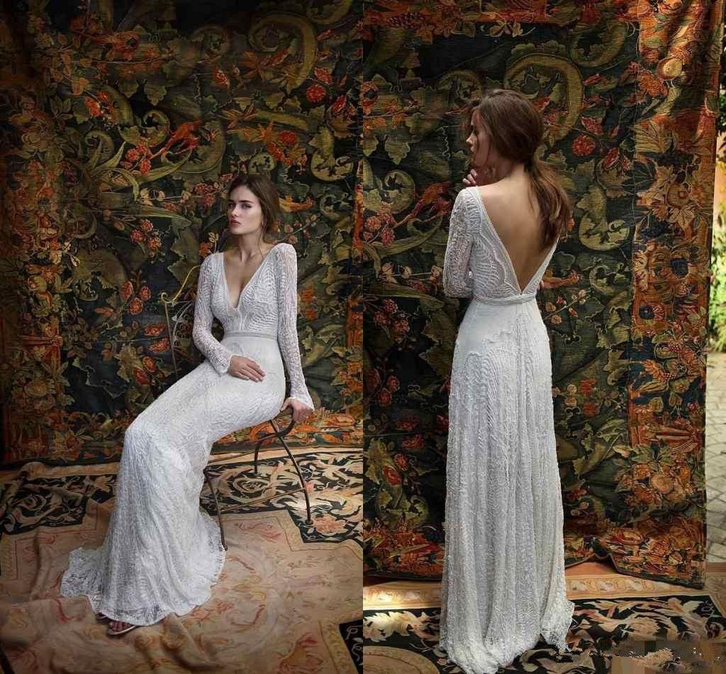 Lihi hod cordón de 2020 nuevo vestidos de novia de manga larga de cuello en V profundo sin espalda vestido de novia barrer de tren por encargo Spring Beach vestidos de boda 88