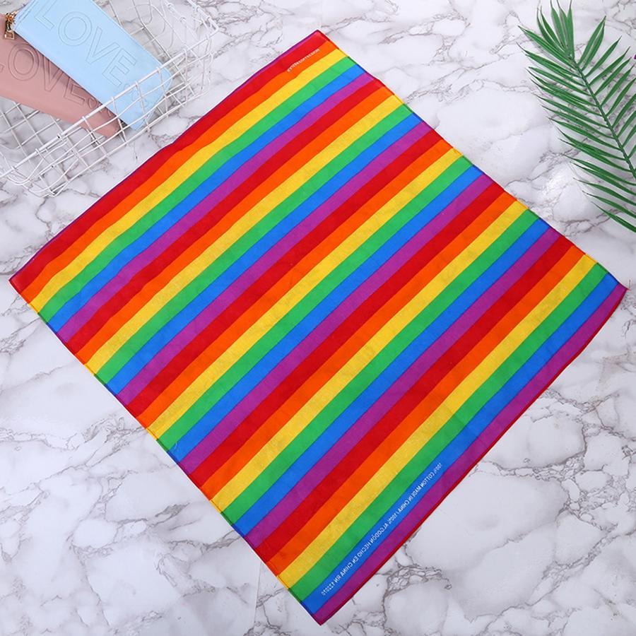 축제 무지개 다채로운 줄무늬 스카프 55 * 55CM 남녀 공용 코튼 포켓 스퀘어 스카프 머리띠 게이 퍼레이드 팔찌 TTA1901-3