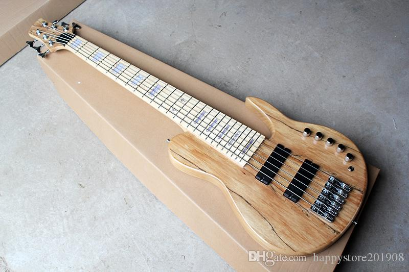 New 6 strings Neck-thru-body Original Electric Bass Guitar with Active Circuit,2 pickups,Chrome Hardware,White Pearl Inlay,offer customize