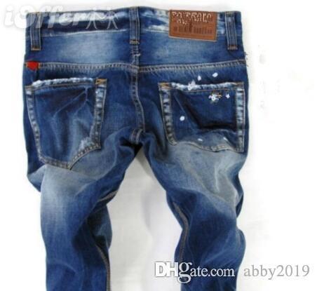 dos homens afligido Ripped Skinny Jeans desenhador de moda Mens Jeans Moto Moto motociclista Causal Mens Denim Pants Hip Hop Jeans