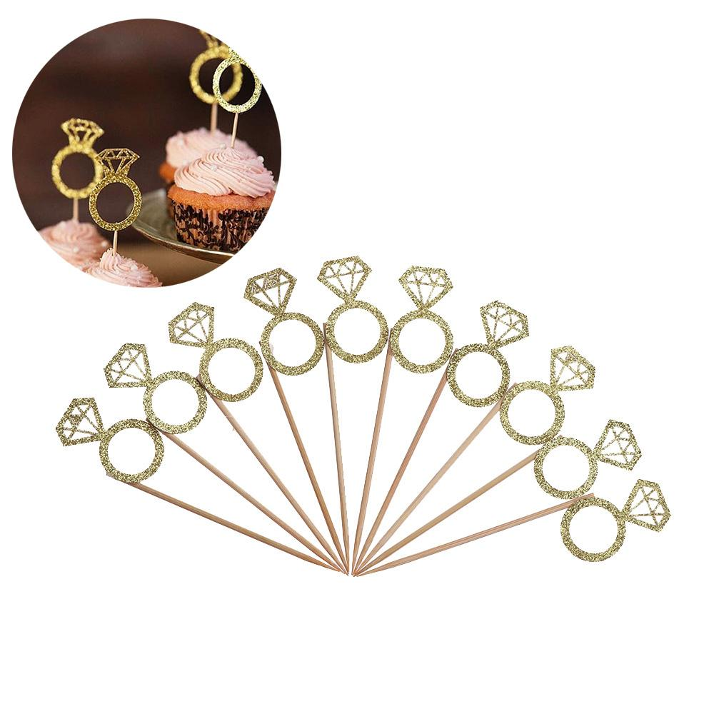 50PCS/Bag Glitter Ring Cupcake Cake Toppers Wedding Prom Birthday Party Wedding Cake Decorations Supplies