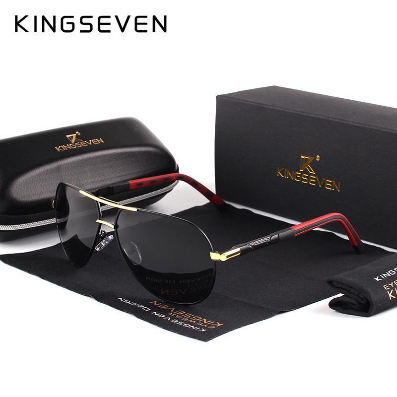 Kingseven uomini vintage alluminio polarizzati occhiali da sole classico marchio occhiali da sole lente di rivestimento lenti guida per gli uomini / wome c19022501