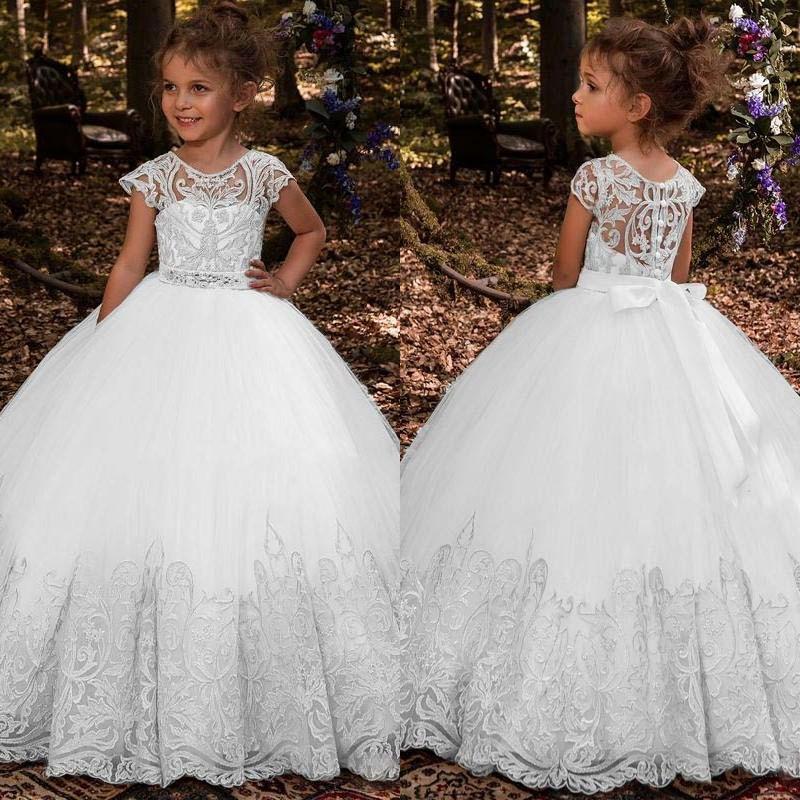 Gelinlik Balo İlk Communion Elbise İçin Kızlar Kolsuz Tül CEINTURE İçin Güzel Dantel Prenses Çiçek Kız Elbise