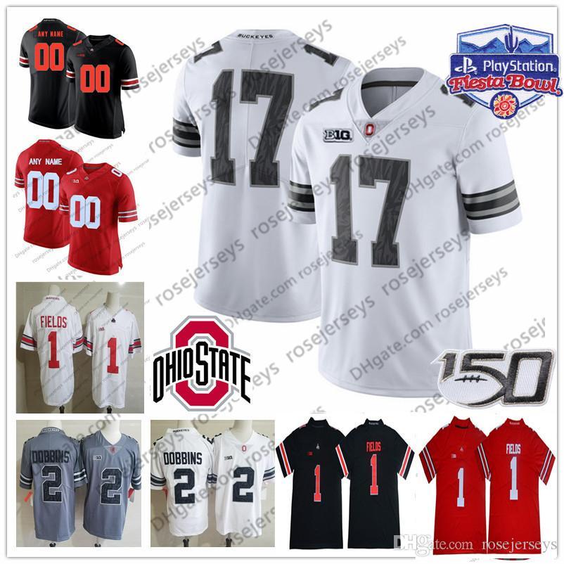 Ohio State Buckeyes personnalisé College Football Fields Dobbins Olave Jeune Teague Burrow OSU Fiesta Bowl 150e Blanc Rouge Gris Noir Camo Jersey
