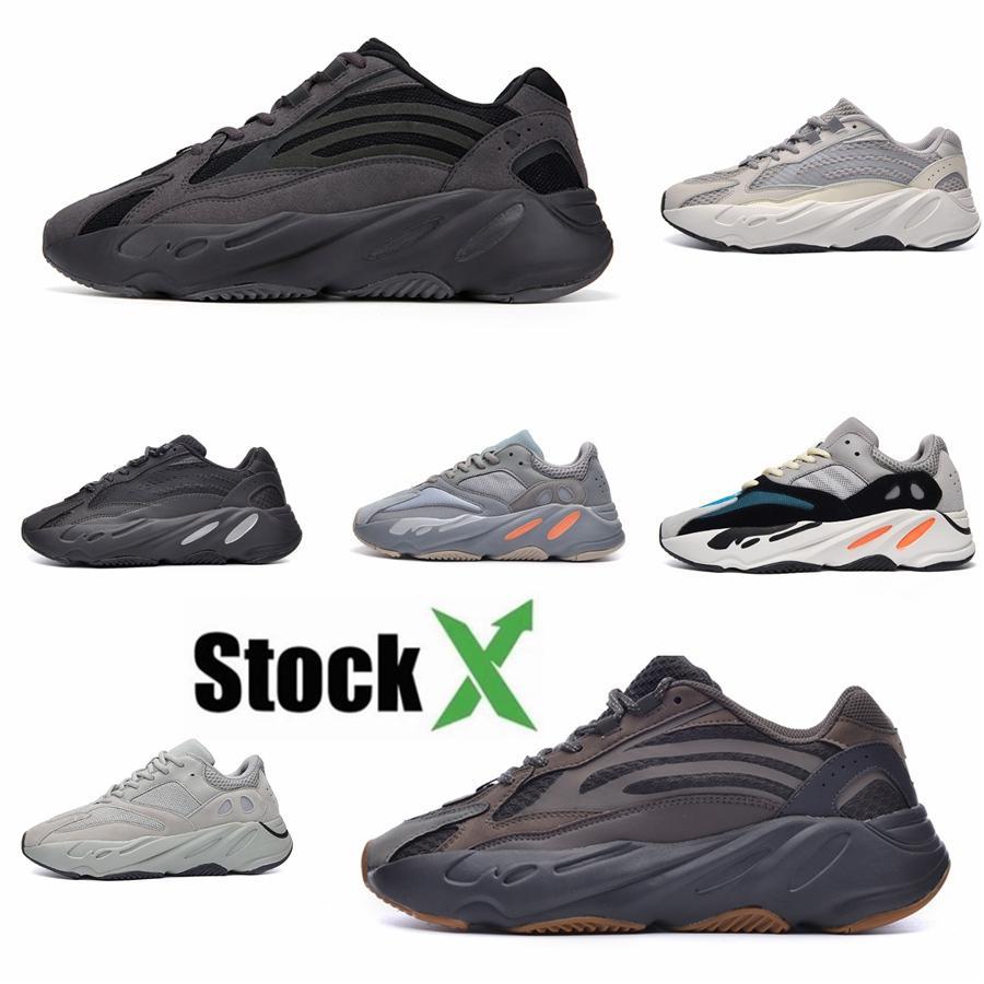 Erkek 700 Kanye West Yansıtıcı Batik Turuncu Teal Karbon Mavi Mıknatıs Kemik Üçlü Siyah Erkekler Kadınlar Tasarımcı Sneakers # DSK731 Ayakkabı Koşu