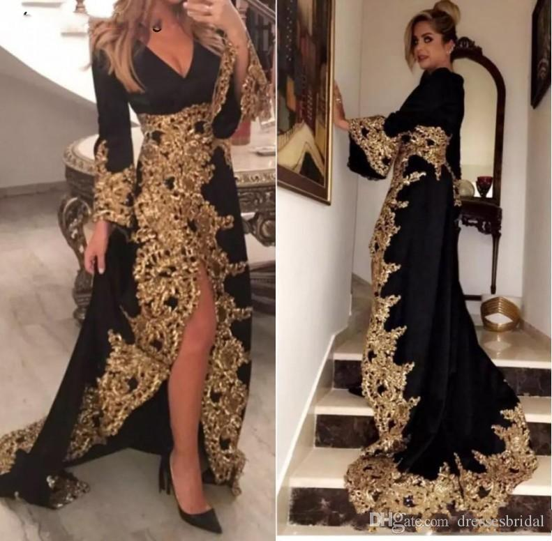 Kaftan Dubai Stil Muslime Abendkleider Lange Ärmel Schwarz Velours Gold Applikationen Damen Formale Prom Kleider Abiye GECE ELBISSI