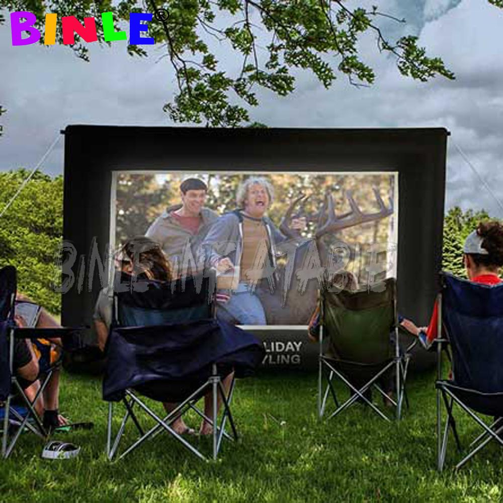 16:9 best 3x1.7m inflatable movie screen with built-in air blower mini TV projector for home backyard theater