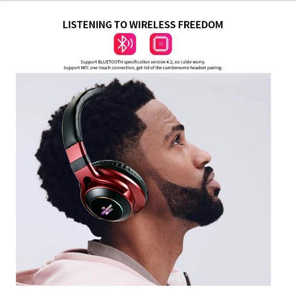 LED sans fil Bluetooth casque stéréo 3D écouteurs avec micro casque soutien TF carte Mode FM Audio Jack