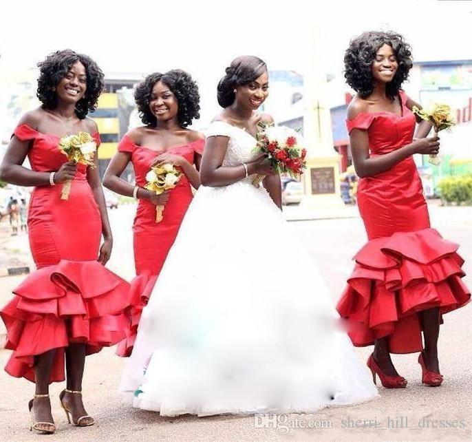 African Red Mermaid Bridesmaids Dresses Off Shoulder Plus Size Tea Length Maid Of Honors Dresses Tiered Satin Wedding Prom Gowns