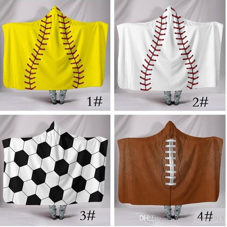200*150cm Blanket Hooded Blankets 3D Printing Sports Baseball Lovely Blankets Wearable Home Adults Hooded Blanket Portable c843