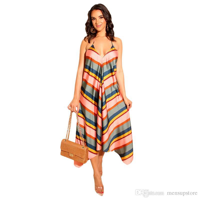 Compre Vestido Playero De Playa Para Mujer Vestido De Rayas Con Escote En V Correa Espagueti Larga Vestidos Largos A 3212 Del Billionairemenboys