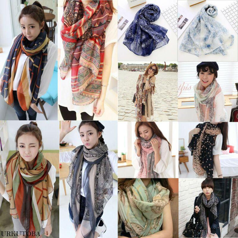 Women Fashion Scarfs Pretty Long Soft Chiffon Silk Scarf Wrap Shawl Stole Scarves Floral Printing Chiffon Scarf Hot Sale