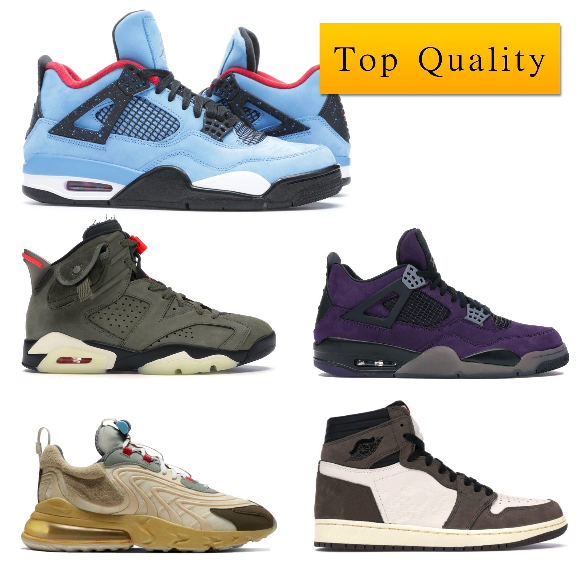 أعلى جودة j1 الرجعية عالية ترافيس سكوتس j 4 الأصدقاء الأرجواني والأسرة الصبار جاك مع صندوق الرجل حذاء