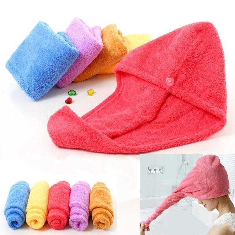 Shower Caps For Magic Quick Dry Hair Microfiber Towel Drying Turban Wrap Hat Caps Spa Bathing Caps